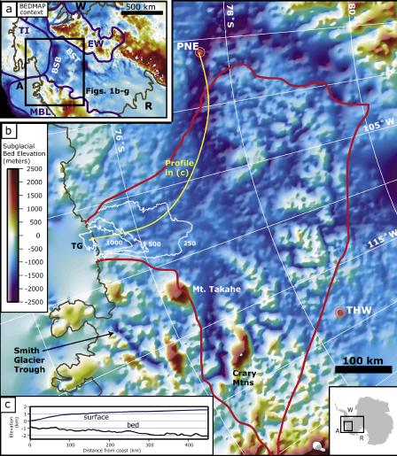 Pine Island and Thwaites glaciers bedrock