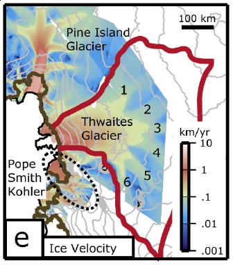Pine Island, Thwaites ice velocities