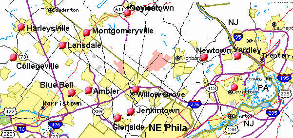 MAPS OF THE REAL ESTATE IN AND AROUND PHILADELPHIA Real Estate - Map of philadelphia area and suburbs