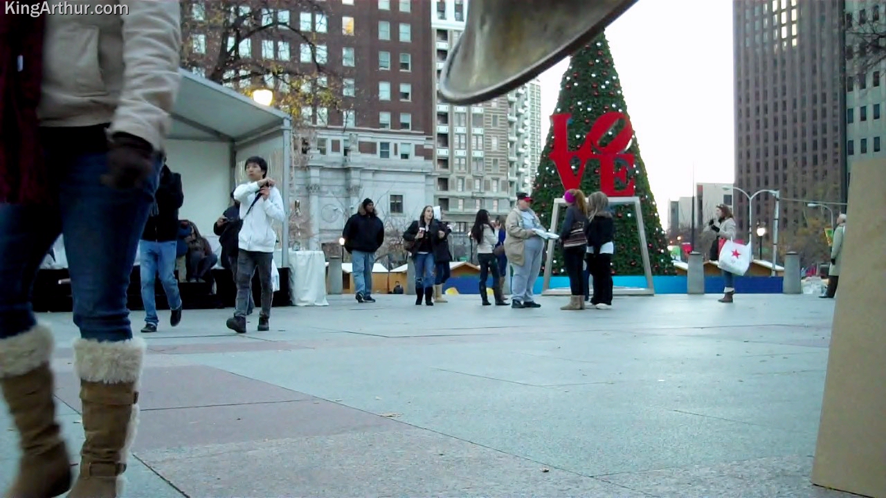 Recording Christmas Music in Love Park, Philadelphia, PA