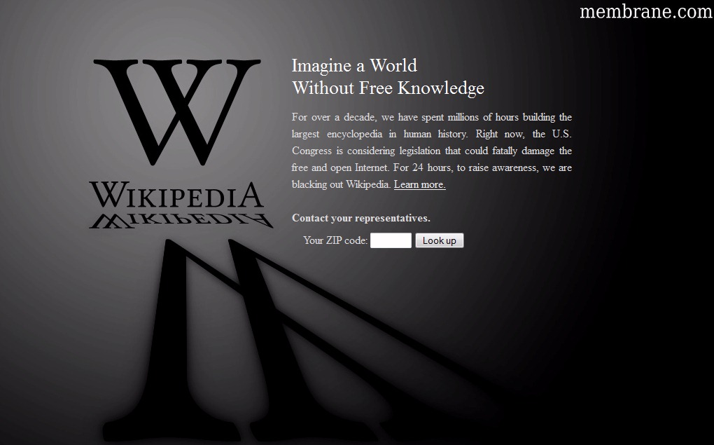 Wikipedia Homepage Blackout Protesting USA Legislation