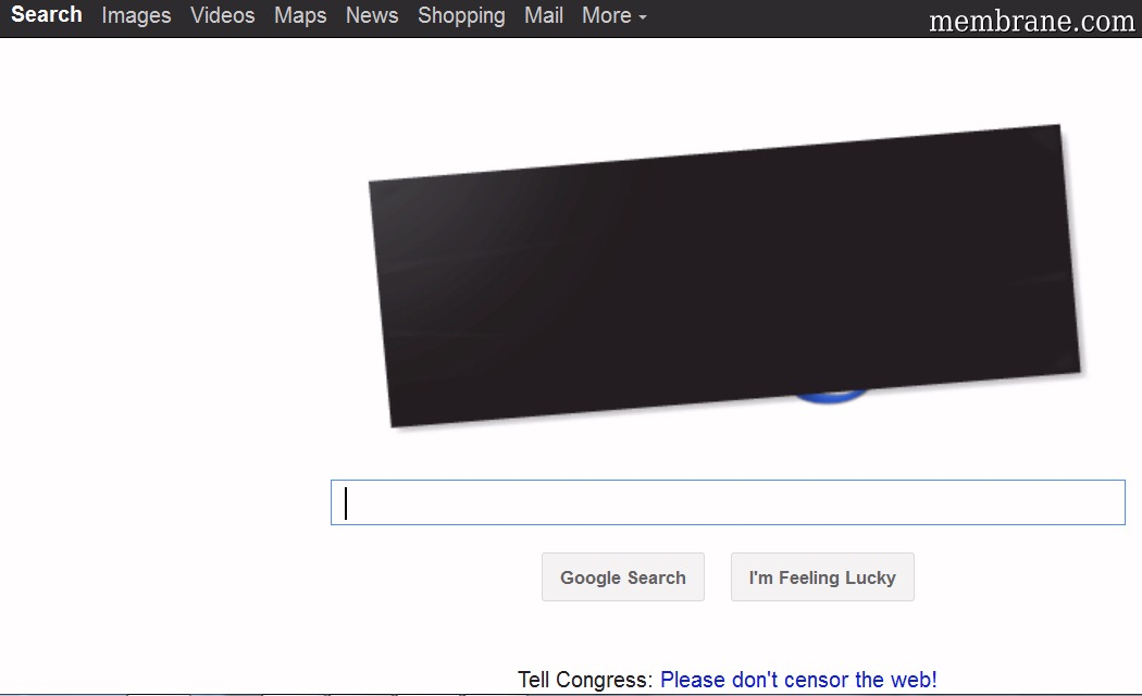 Google Homepage Blackout Protesting USA Legislation